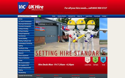 Screenshot of Home Page ukhire.net - VIC UK Hire | Tool Hire | Equipment Hire | Lincoln - captured Oct. 6, 2014