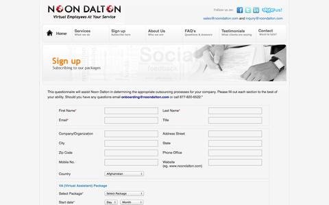 Screenshot of Signup Page noondalton.com - Noon Dalton: Virtual Employees At Your Service - captured Oct. 7, 2014