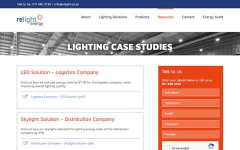 Screenshot of Case Studies Page relight.co.za - Lighting Case Studies | Relight Energy - captured Nov. 7, 2017