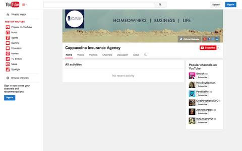 Screenshot of YouTube Page youtube.com - Cappuccino Insurance Agency  - YouTube - captured Oct. 27, 2014