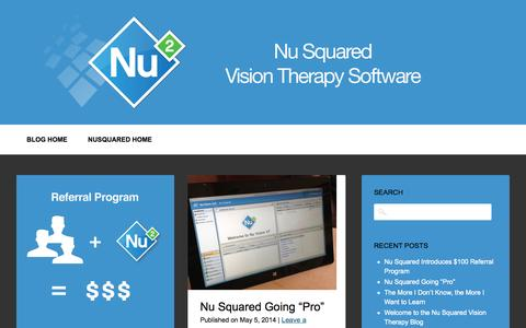 Screenshot of Blog nusquared.com - Nu Squared : Vision Therapy Software - captured Oct. 9, 2014