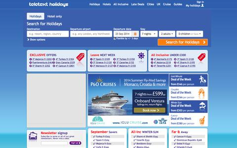 Screenshot of Home Page teletextholidays.co.uk - Cheap Holidays, Last Minute Deals, All Inclusive Holidays, UK Breaks and Cruises - captured Sept. 18, 2014