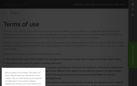 Screenshot of Terms Page intuitiv.net - Terms of use | Intuitiv Digital - captured Sept. 20, 2018
