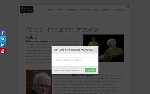 Screenshot of About Page thegreeninterview.com - About The Green Interview | The Green Interview - captured Dec. 23, 2016