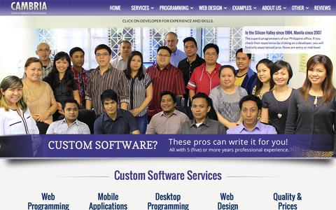 Screenshot of Home Page cambria.com - Custom Software Design, Software Development Services, Custom Software Development Company - captured Jan. 25, 2016