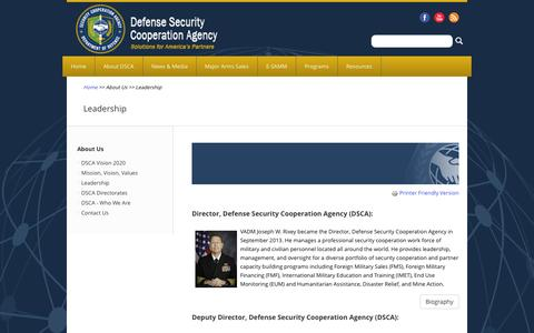Screenshot of Team Page dsca.mil - Leadership | The Official Home of the Defense Security Cooperation Agency - captured Oct. 5, 2014