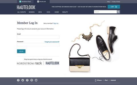 Screenshot of Login Page hautelook.com captured Dec. 8, 2015