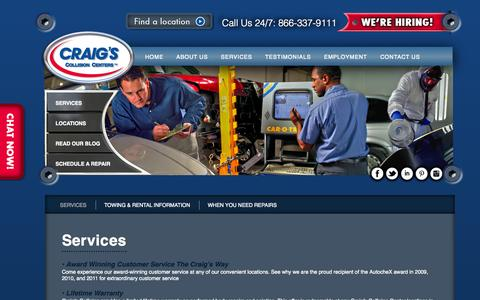 Screenshot of Services Page craigscollision.com - Auto Body Repair Services in DFW | Craigs Collision - captured Oct. 3, 2014