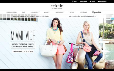 Screenshot of Home Page colettehayman.com.au - Handbags & Fashion Jewellery - colette by colette hayman - captured Sept. 24, 2014
