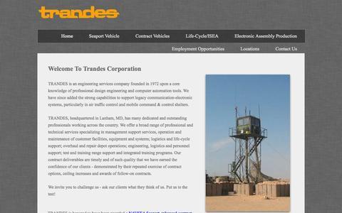 Screenshot of Home Page trandes.com - Home - captured Oct. 7, 2014