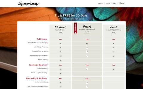 Screenshot of Pricing Page symphonytools.com - Plans & Pricing - captured Sept. 16, 2014