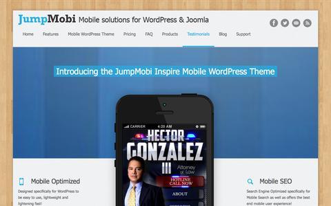 Screenshot of Products Page Pricing Page Testimonials Page jumpmobi.com - WordPress Mobile Themes & Mobile Redirect Scripts – JumpMobi - captured Nov. 5, 2014