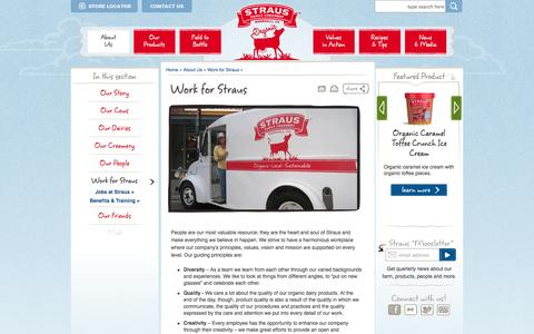 Screenshot of Jobs Page strausfamilycreamery.com - Work for Straus | Straus Family Creamery - captured Sept. 25, 2014