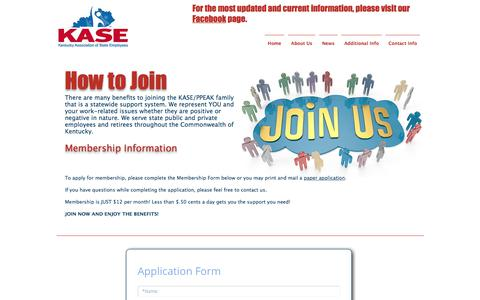 Screenshot of Signup Page kaseky.org - KASE - Kentucky Association of State Employees   How to Join - captured Oct. 17, 2017