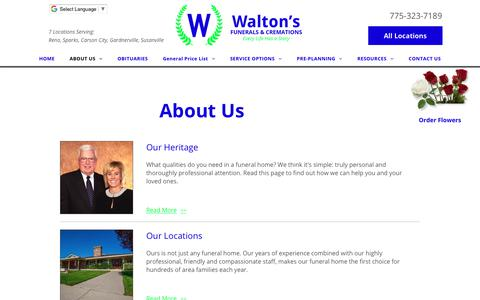 Screenshot of About Page waltonsfuneralhomes.com - Reno funeral home by Walton's Funerals and Cremations - captured Oct. 18, 2018