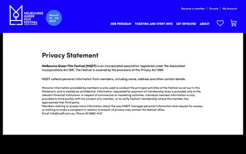 Screenshot of Privacy Page mqff.com.au - Privacy Statement | Melbourne Queer Film Festival - captured Feb. 19, 2018