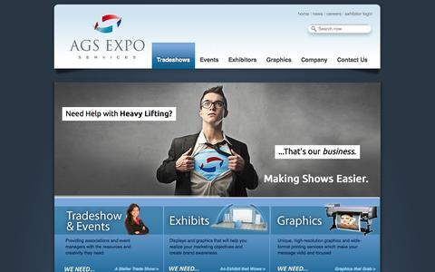 Screenshot of Home Page ags-expo.com - Trade Shows | Exhibit Displays | Graphics | AGS Expo Services - - captured Oct. 4, 2014