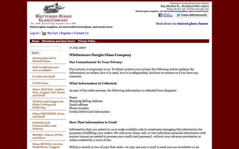 Screenshot of Privacy Page whittemoredurgin.com - Whittemore-Durgin Glass :: Privacy Policy - captured Oct. 26, 2014