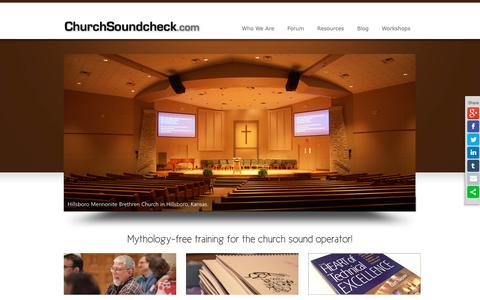Screenshot of Home Page churchsoundcheck.com - ChurchSoundcheck.com | Training Church Tech Volunteers Since 1997 - captured Sept. 28, 2018