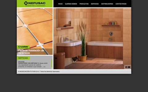 Screenshot of Home Page nefusac.com - NEFUSAC - Antideslizante de PVC, cinta antideslizante, cantonera de aluminio, cantonera para escaleras, zocalos canaleta, zocalos de pvc, protectores de esquina, perfil para cambios de piso, crucetas para enchape, alineadores para enchape, perfiles d - captured Oct. 7, 2014