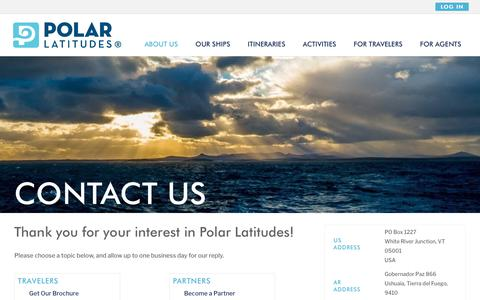 Screenshot of Contact Page polar-latitudes.com - Contact Us - Polar Latitudes - captured July 19, 2018