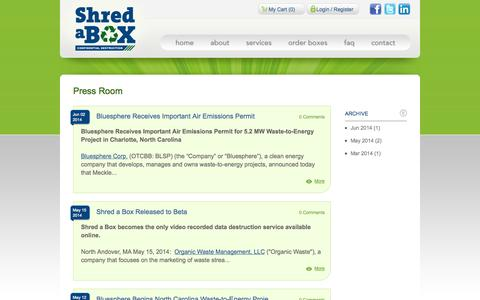 Screenshot of Press Page shredabox.com - Press Room | About Us | Shred a Box - captured Oct. 26, 2014