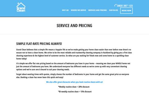 Screenshot of Pricing Page grandclean.co.nz - Service and Pricing - captured Oct. 28, 2014