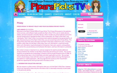 Screenshot of Privacy Page piperspicks.tv - Privacy - Celebs | Interviews | Celebrity News | Chat | Piper's Picks TV - captured Oct. 2, 2014