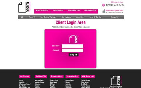 Screenshot of Login Page theream.co.uk - Log In to your customer account   Ream Print Company - captured Oct. 26, 2014