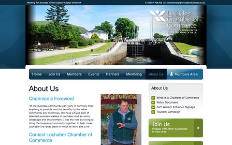 Screenshot of About Page lochaberchamber.co.uk - Lochaber Chamber of Commerce - captured Oct. 6, 2014