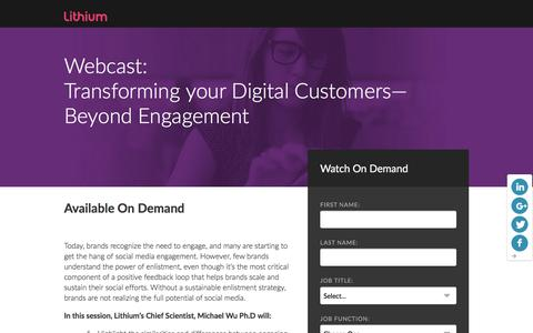 Screenshot of Landing Page lithium.com - Transforming your Digital Customers—Beyond Engagement - captured March 21, 2016