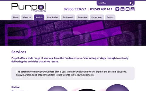 Screenshot of Services Page purpolmarketing.co.uk - Services - Purpol Marketing - captured Feb. 22, 2016