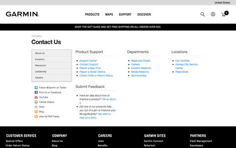 Screenshot of Contact Page garmin.com - Contact Us | Garmin | United States - captured Dec. 9, 2018