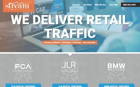 Screenshot of Home Page streamautomotiveadvertising.com - Automotive Advertising Agency Stream Companies - captured Nov. 18, 2018