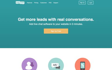 Screenshot of Home Page purechat.com - Free Live Chat Software for Websites | Pure Chat - captured Dec. 2, 2015