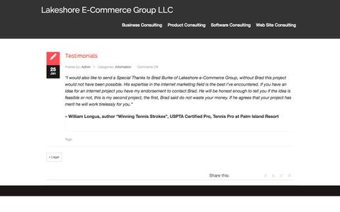 Screenshot of Testimonials Page lecgonline.com - Lakeshore e-Commerce Group LLC – Testimonials - captured Oct. 1, 2014