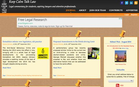 Screenshot of Home Page Blog keepcalmtalklaw.co.uk - UK Legal Commentary | Law News | Commercial Awareness - Keep Calm Talk Law - captured Sept. 30, 2014