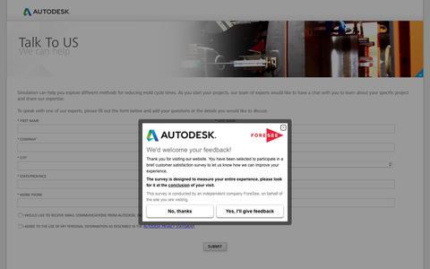 Screenshot of autodesk.com - Talk To Us - captured July 25, 2017