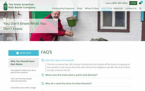 Screenshot of FAQ Page greatamericanrainbarrel.com - FAQ'S - The Great American Rain Barrel - captured Oct. 24, 2017
