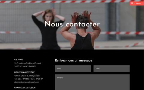 Screenshot of Contact Page compagnie-apart.com - Nous contacter - Cie APART - Danse - Grenoble - captured Oct. 26, 2018