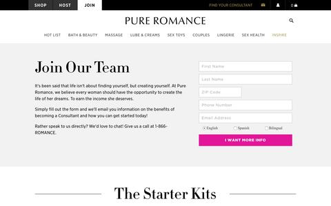 Screenshot of Signup Page pureromance.com - Become A Consultant | Start Your Business | Pure Romance - captured July 24, 2018