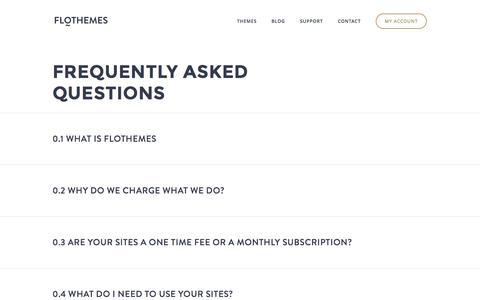 Screenshot of FAQ Page flothemes.com - FAQ | Flothemes - captured Sept. 23, 2014