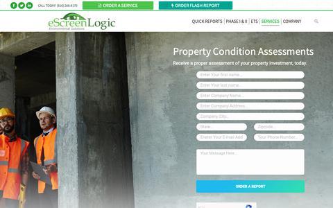 Screenshot of Services Page escreenlogic.com - Property Condition Assessment Services | eScreenLogic - captured Nov. 5, 2018