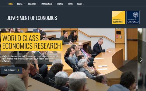 Screenshot of ox.ac.uk - Homepage | Homepage | Economics Website - captured Sept. 25, 2017