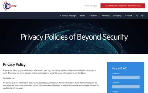 Screenshot of Privacy Page beyondsecurity.com - Privacy Policies of Beyond Security - captured Jan. 3, 2018