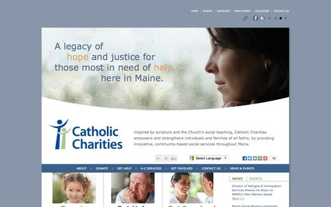 Screenshot of Home Page ccmaine.org - Catholic Charities Maine :: Community-based social services throughout Maine - captured Oct. 2, 2014