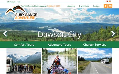 Screenshot of Home Page rubyrange.com - Ruby Range Adventure – Guided Round Trips and Wilderness Tours in Canada and Alaska | Hiking • Canoe • Fishing | Hotel & Camping Tours | Custom Trips | Fly-Drives - captured Oct. 23, 2017