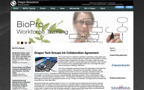 Screenshot of About Page Contact Page Press Page oregonbio.org - Oregon Bioscience Association - captured Oct. 26, 2014
