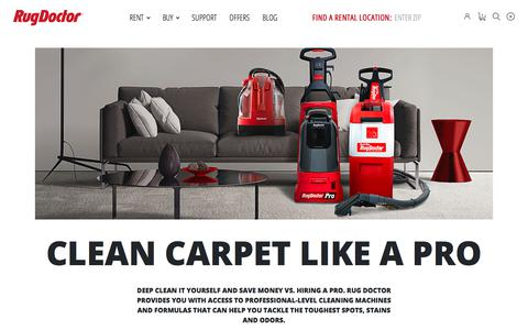 Screenshot of Home Page rugdoctor.com - Carpet Cleaners, Carpet Cleaning Machines - Rent or Buy: Rug Doctor - captured Aug. 23, 2019