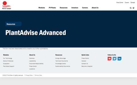PlantAdvise Advanced | First Solar